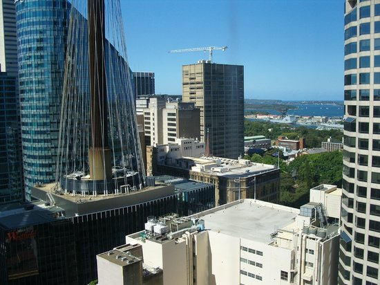 Hilton Sydney: View from Relaxation Suite -- Pitt St end