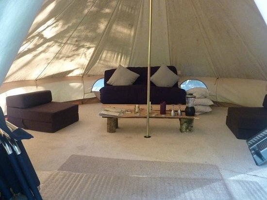 Eco Camp UK - Wild Boar Wood Campsite: Inside the fully equiped bell tents