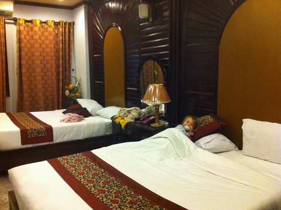 Indochina Gold hotel:                   Our room with complimentary, jet-lagged three and a half year old.