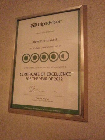 Hotel Inter Istanbul:                   Recognition from TripAdvisor