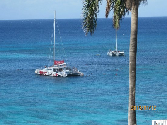 Montego Bay Club Resort:                                     We could see these catamarans each day from our balcony