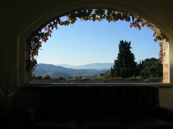 Hotel Terre di Casole:                   Tuscany from the  reception area.