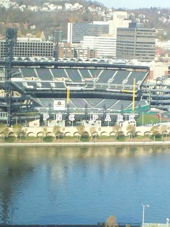 view of pnc park from our room. Black Bedroom Furniture Sets. Home Design Ideas
