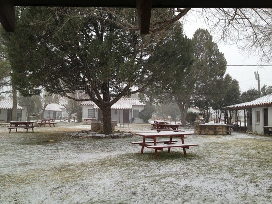 Antelope Lodge:                   Courtyard in the snow, Jan 2013