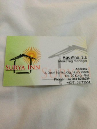 Surya Inn: name card