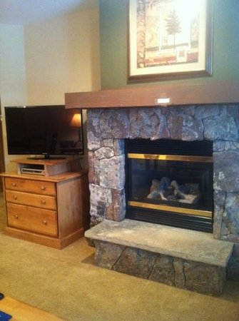 Mountain Thunder Lodge: fireplace and tv