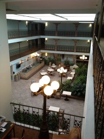 Oglethorpe Inn &amp; Suites:                   View from our 3rd floor room looking over the entrance and breakfast area.