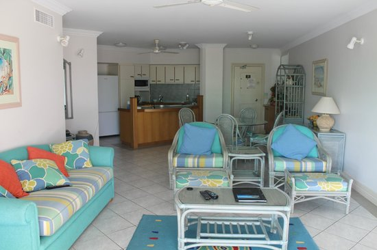 On the Beach Holiday Apartments:                   Living room and kitchen - view from balcony
