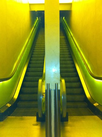 Hudson Hotel New York:                   Escalator up to reception (there is also a lift)