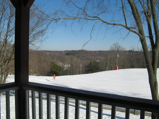 Carriage Ridge Resort:                   Looking out at the ski hill from the balcony