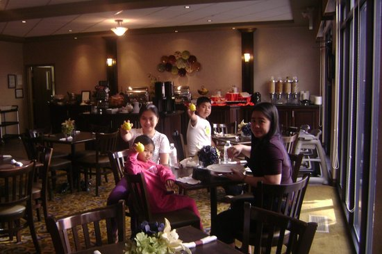 Hospitality Inns & Suites:                   Having our continental breakfast at the hotel's restaurant.