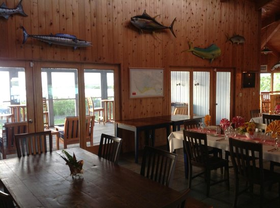 Deep Water Cay:                   Dining room looking out to the water.