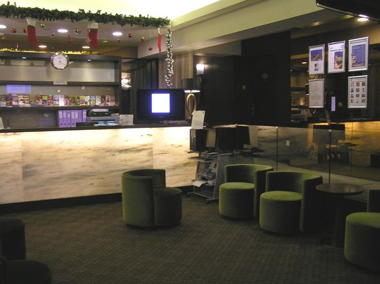    : Smalll hotel lobby with computer station