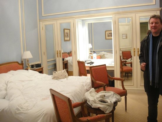 Hotel de Crillon:                   The bedroom area of the Forfait suite, good size, great bed, storage and light