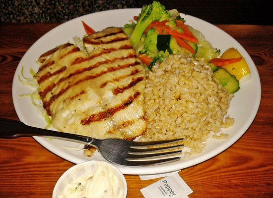 Grilled fish w/brown rice and veggies - Picture of Fish's Wild, Davis ...