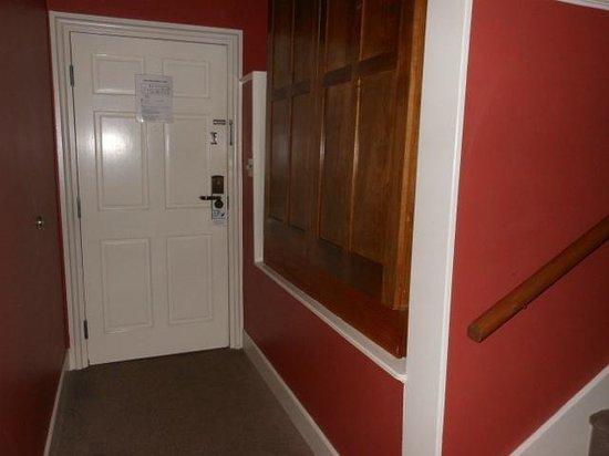 Brookstown Inn:                   The door to the room and little hallway