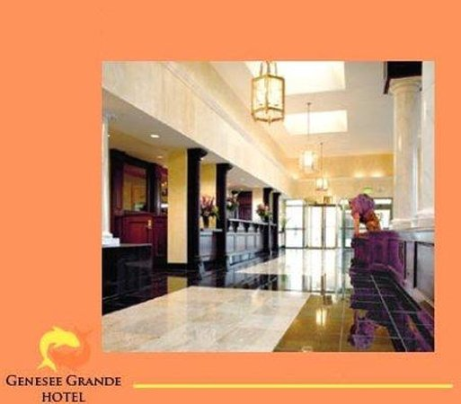 The Genesee Grande Hotel: Marble lobby of classic style of Syracuse luxury h
