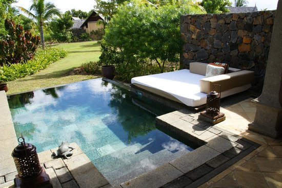 Maradiva Villas Resort and Spa:                   Our plunge pool and gardens. From the outdoor bed you could see the sea! :)