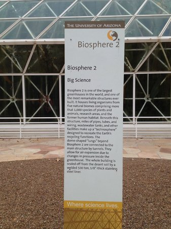 Oracle, AZ:                   Poster Display of the Biosphere 2