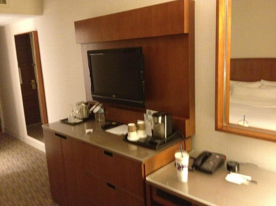The Westin Calgary:                   View of room including bed in mirror.