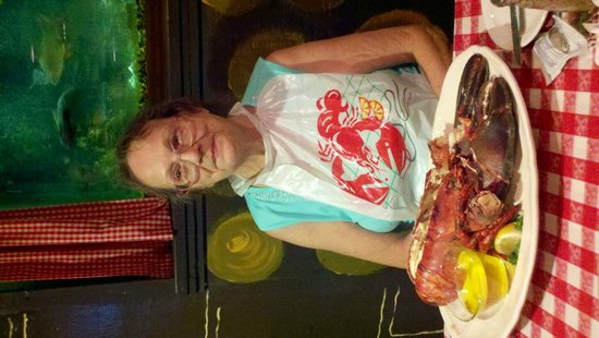 The Bowery Dugout: Betty having a lobster for her Birthday.