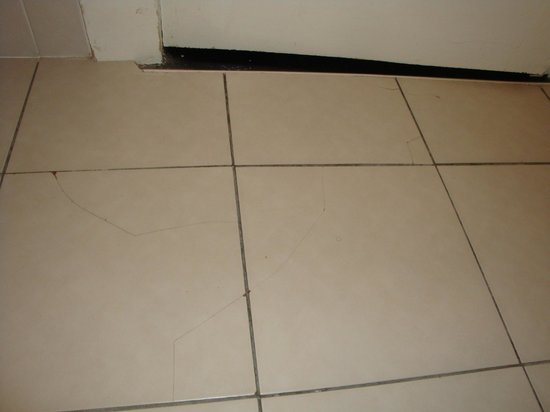 Stauntons on the Green: cracked tiles in bathroom, also door does not have a handle