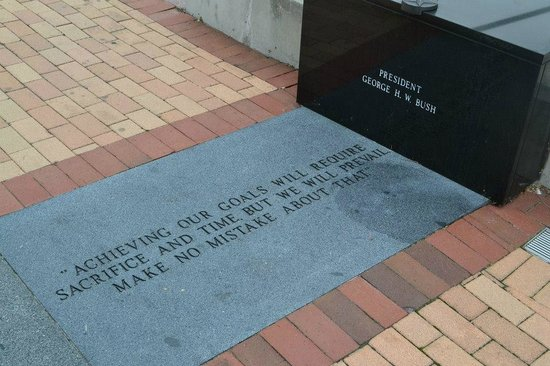 Veterans Memorial Wall: quote from US President/WWII fighter pilot