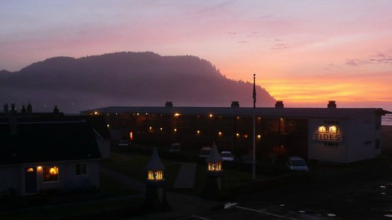 "Inn at the Shore:                   The Sun Sets While Tillamook Head Rises Above ""The Tides"""