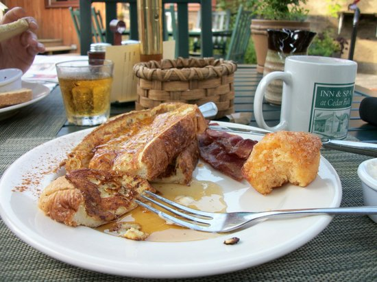 The Inn & Spa at Cedar Falls:                   stuffed french toast for breakfast, yum