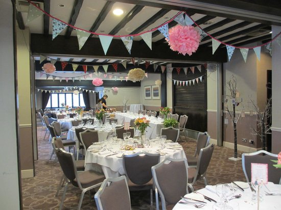 Priest House:                   Bunting, fairylights, trees and pompoms made an attractive room look even bett