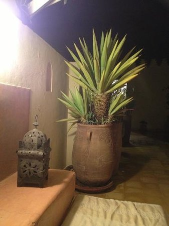 Riad Aguerzame: the roof terrace by night.