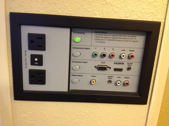 Hyatt Place Busch Gardens: plug panel for tv & extra electrical outlet