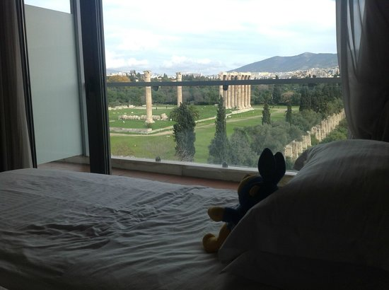 The Athens Gate Hotel: View from our bed, room 507. Temple of Zeus.