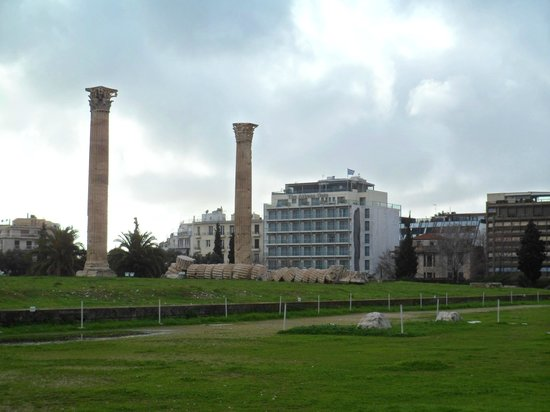 The Athens Gate Hotel: View of the hotel from Temple of Zeus.