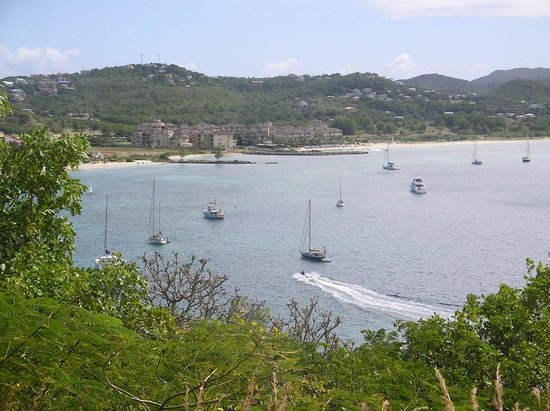 The Landings St. Lucia: view to resort from Fort Rodney