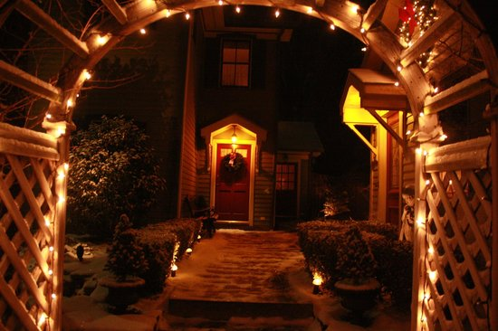 The Widow McCrea House Victorian Bed and Breakfast:                   Nightime view of entry to Privacy Suite