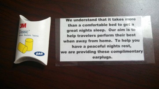 Holiday Inn Norton:                   Earplugs for your room