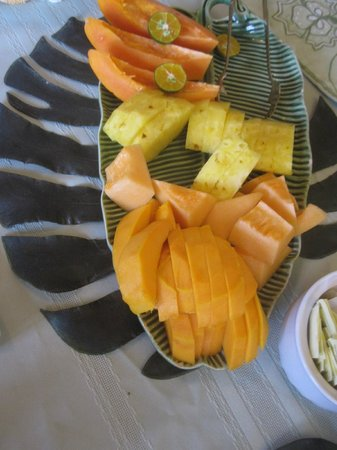 Hilo Honu Inn:                   delicious fruit platter every morning
