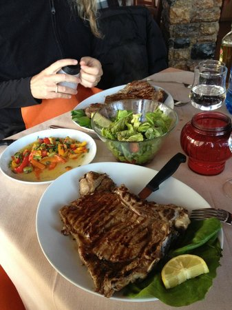 Il Belvedere d'Anchise:                                     Our lunch, enormous tasty steaks!