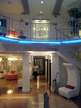 Beacon Hotel:                   Art deco lobby area. Check in desk is to the right.