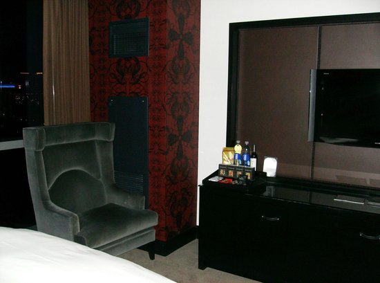 """Hard Rock Hotel and Casino: First room Paradise Tower...a few """"adult"""" supplies there by the chair. Hmmm"""