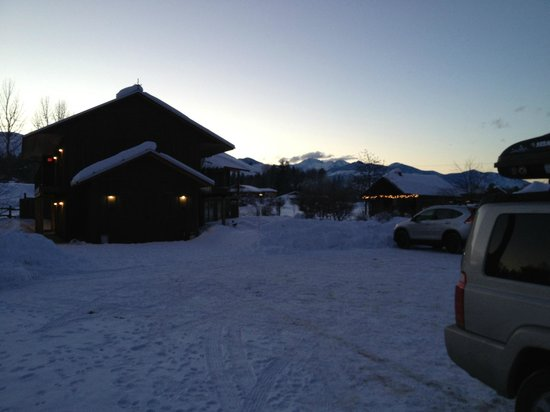 Mt Gardner Inn:                   Heading in from a long day of skiing. . . view toward the mountains from the p