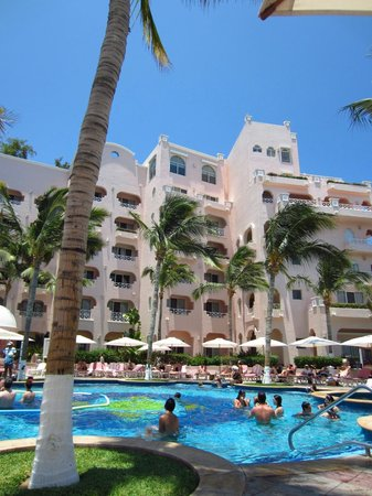 Pueblo Bonito Rose:                   The view of the hotel from the pool