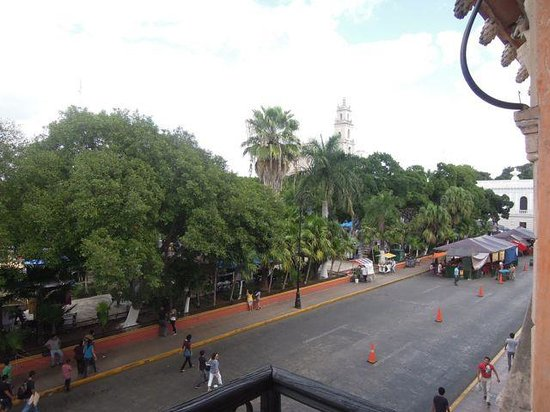 Hostal Zocalo:                   View from balcony of private rm #22, showing one of the cathedral steeples abo