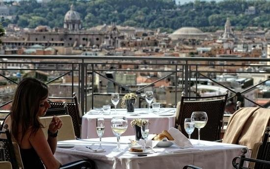 Hotel Bernini Bristol :                   lunch at the rooftop reasturant