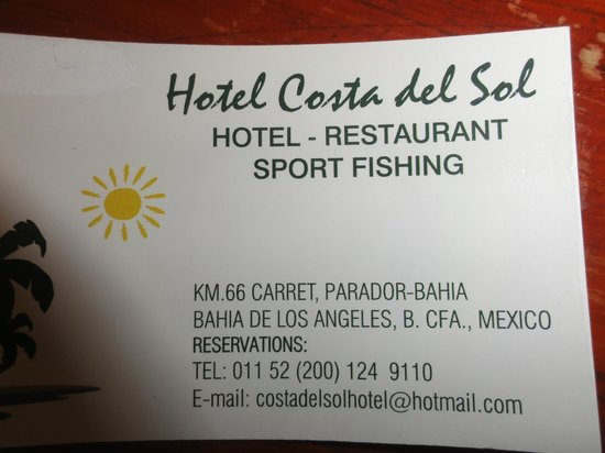 Costa del Sol Hotel:                   Contact Business Card