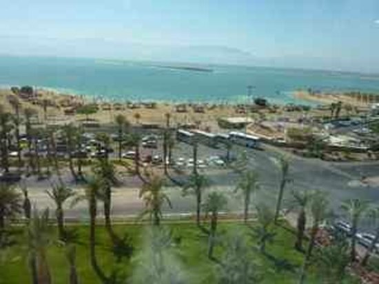 Isrotel Ganim:                   View from hotel room window. Across the Dead Sea you can see Jordan.