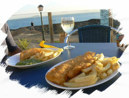 Plaice in the Sun :                   What more could you ask for. Cod and Chips for me and a Pensioners' Special fo