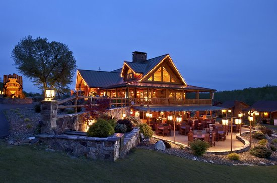 Smoke Hole Caverns &amp; Log Cabin Resort: Conference Center/Veranda for Groups/Weddings/reunions--Log Cabin Resort Area