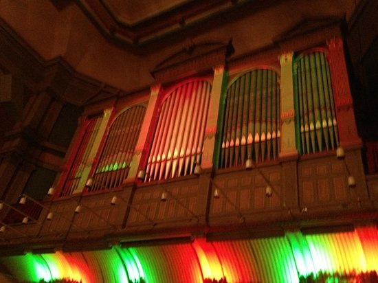 Troy, NY: Massive organ pipes above the stage area